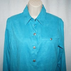 Chicos Blue Turquois blue blouse shirt top